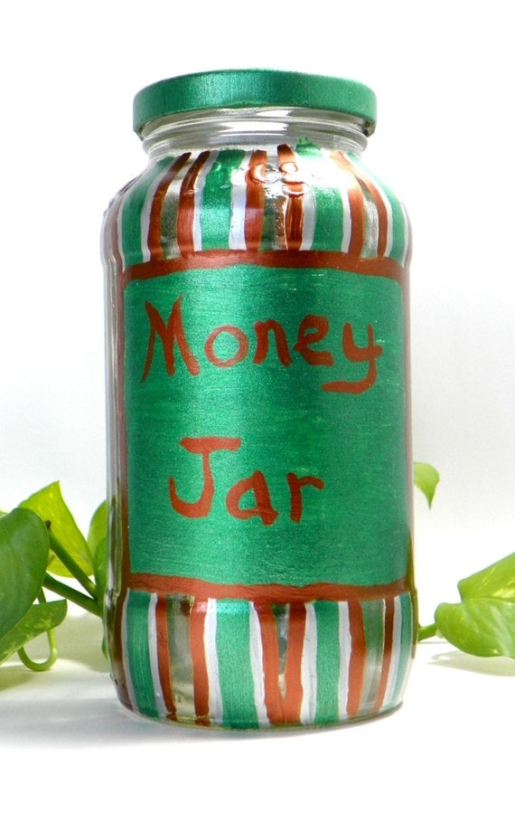 Green Copper Striped Money Jar from Feath and Kee