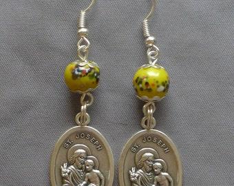 St Joseph - 8mm Yellow Glass Earrings