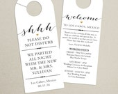 Set of 10 - Double-Sided Door Hanger for Wedding Hotel Welcome Bag - Wedding Weekend Itinerary - Destination Wedding - Schedule of Events