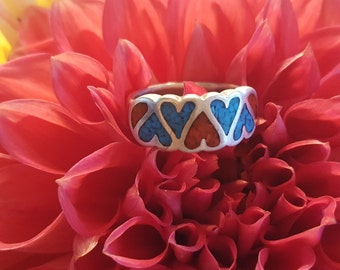 Sterling Silver Red and Blue Heart Band  (st - 1772)