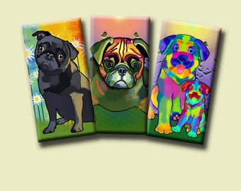 FUNKY DOGS -  Digital Collage Sheet 1x2 inch domino images for pendants, rectangle bezel settings, magnets.  Instant Download #216.