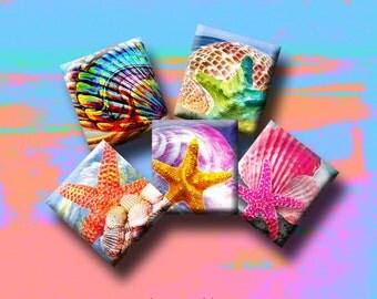 SEASHORE DREAMS-Digital Collage Sheet .75 x .83 inch Scrabble Tile Images. Pendants, earrings, scrap-booking. Instant Download #201.