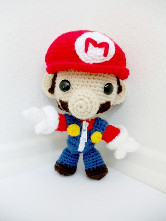 Mario Bros. Sackboy Amigurumi (crocheted stuffed doll)
