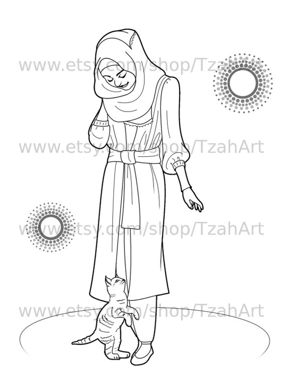 Muslim Hijabi Coloring Book Page Digital Download - Muslimah Lady and Kitten