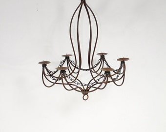 "Wrought Iron Candle Chandelier Lighting ""Master Tamara"" Use Indoor or Outdoor"