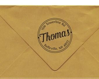 Custom Address Stamp, Personalized Round Address Stamp, Personalized Return Address Gift, Pre-inked Rubber Stamp, Belleville