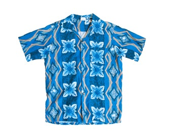 SALE vintage 50s hawaiian shirt mens pacific sportswear blue and gold short sleeve tiki floral aloha tropical shirt medium