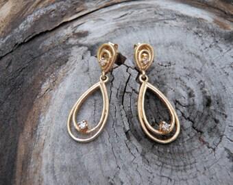 Solid 14K Yellow Gold Diamond Teardrop Dangle Post Earrings Single Cut Diamonds Unique Double Pear Shape Elegant Statement Interesting Gift