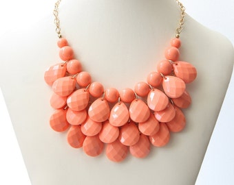 Party Necklace, Peachy Pink Necklace, Women's Jewelry, Bridal Necklace, Wedding Jewelry, Chunky Necklace