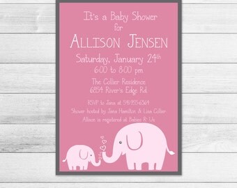 Pink Elephant Printable Baby Shower Invitation