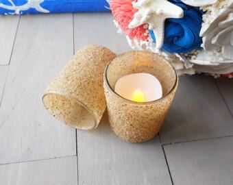 16 Beach Candles, Sand Candle Holder, Votive Beach Candles, Beach Wedding
