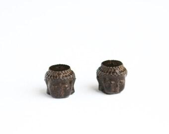 Wood Carved Buddha Head Beads