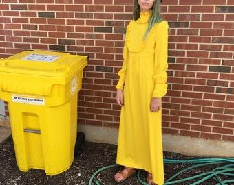 70s Psychedelic Dress, Bibbed Dress, Yellow Dress, Long Sleeve Maxi Dress, Long Bohemian Dress, Hippie Gown, Flower Child, Size 2, XS, Small