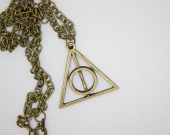 Deathly Hallows Necklace, Harry Potter Inspired, Pendant Necklace, Book Jewelry, Movie Jewelry, Fandom Jewelry, Gold Vintage