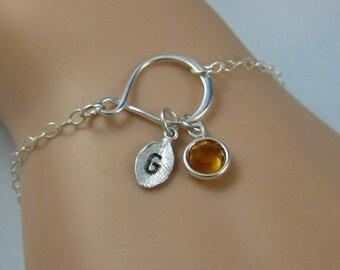 Personalized infinity bracelet | Silver leaf charm bracelet, Grandmother gift, Wife charm bracelet, Birthstone bracelet, Gift for mom
