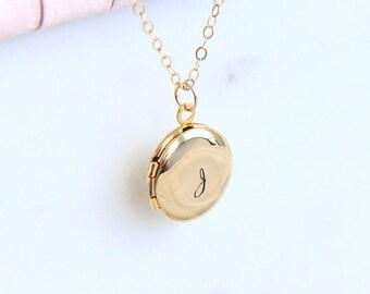 Locket Necklace, Initial Locket Necklace, Tiny Gold Locket Pendant, Personalized Locket, Monogram Necklace, Hand Stamped Locket Necklace