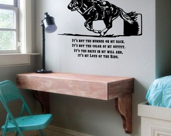 Horse Decal, Horse Quote Decal,Barrel Racer Decal, Horse Wall Decal, Horse Sticker, Horse Quote, Decal, Western Decal, Wall Decal, Rodeo