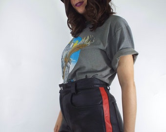Biker Babe Vintage High-Waist Black Leather Red Racing Stripe Shorts -- Size 29