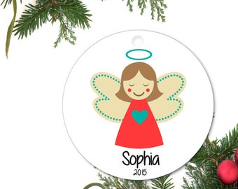 Angel Ornament, Baby's first Ornament, Brunette Angel, Personalized Angel Ornament, Custom Baby Ornament, Ceramic baby Ornament
