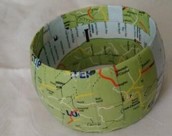 Decoupage Bangle - Maps, Magazine, Book, Encyclopedia Strips