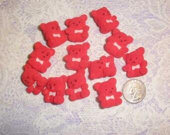 Miniature Flocked Teddy Bears Crafts, Lot of 12 Mini Size Red Velvety Teddy Bears, Christmas Craft Supply