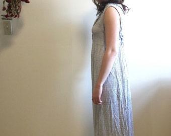 Vintage Maxi Blue Plaid Sleeveless Baby Doll Dress