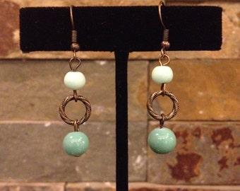 Mint Green Antiqued Gold Brass Hoop Link Dangle Light Green Earrings