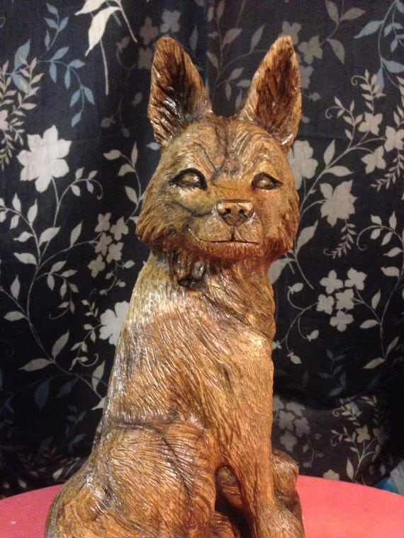 Original chainsaw carved fox wood carving oak rcwaitsart