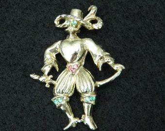 Vintage Pin with a Spaniard design  adorned with Multi colored stones