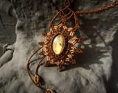Macrame Mandala, Labradorite Macrame Necklace, Brown, Gemstone macrame, Leo, Scorpio, Saggitarius, Solar Plexus, Third Eye