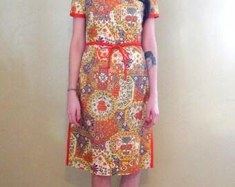 Vintage 1960's Nantucket Originals Oriental Style Orange and Blue Mini Dress Size Small