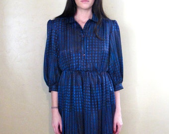 Vintage 1980's Black and Blue Puff Sleeve Button Front Houndstooth Secretary Dress Size Medium/Large