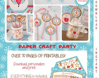 Cookies & Cocoa Printable Party Kit | Cookies Cocoa Invite and Decorations | INSTANT DOWNLOAD Edit in Adobe Reader | Paper Craft Party