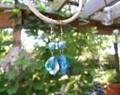 Handmade Mermaid Blue Iridescent Beaded Dangle Earrings / Boho Silver Dangle Drop Earrings / Blue Iridescent Jewelry / Ocean Beach Earrings