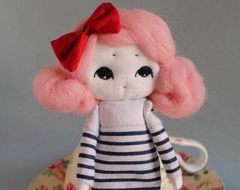 Art doll, kawaii, Parisian Girl with Freckles OOAK, handmade doll, art, home decor, dolls, gift