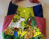 Handmade bag from Vintage Pippi Longstocking fabric ,Noodlehead, Tote Bag 241, handmade