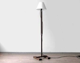 Floor Lamp Kibik Industrial Lighting Wood Accent