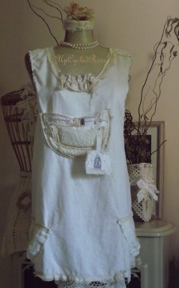 Shabby Couture Linen Apron Tattered Torn and Gorgeous