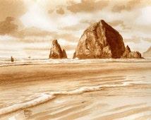 beer art, Cannon Beach, painted using beer, ocean, sea, haystack rock