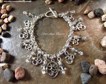 Quartz Om Bracelet - Quartz Jewelry, Om Jewelry, Yoga Jewelry, Om Bracelet, Quartz Bracelet, Crystal Bracelet, Yoga, Chakra Jewelry, Boho