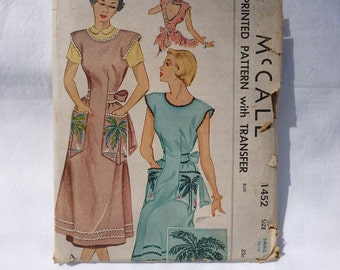 """McCall Pattern #1452~Ladies and Misses Cover All Apron~Size Small 14-16~Dated 1940""""s~Smock Pattern~Full Apron Pattern~~1940's Sewing Pattern"""