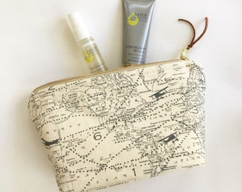 Map Fabric Cosmetic Bag / Travel Pouch / Makeup Bag / Map Fabric Zipper Pouch