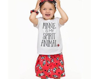 Minnie Is My Spirit Animal Girls Onesie, Tee or Tank Top - Custom Color Glitter