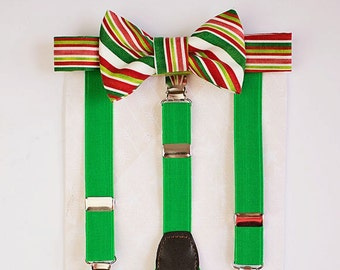 Boy Christmas Bow Tie Suspenders Set.Red Green Holiday Bow Tie Boy Accessories..Boy 1st Christmas Boys Bow tie - baby boy suspenders -bowtie