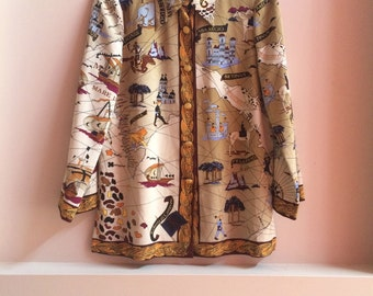 Vintage Treasure Map Blouse