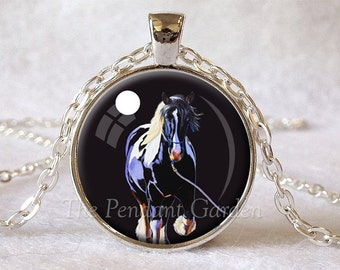 DRAFT HORSE PENDANT Black White Periwinkle Gypsy Horse Necklace Paint Horse Jewelry Gypsy Vanner Pendant Moon Jewelry