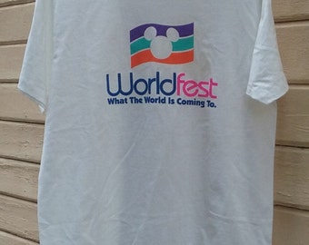 Vintage WordFest Disneyland t shirt white adult XLarge screen tshirt
