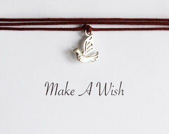 Make A Wish Dove Bracelet - Bohemian Jewellery, Friendship Bracelet, Boho Style, Bird Charm, Turtledove