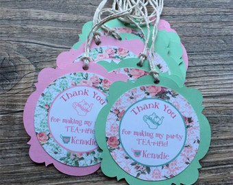 Tea Party Favor Tags - Shades of Pink & Mint - Floral Roses - Thank You Tags, Gift tags - Personalized  - Tea Party Birthday - set of 12