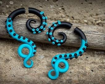 Blue black octopus Turquoise octopus Fake gauges Fake ear plug Tentacle earrings Octopus tentacle Blue octopus Summer earrings, 0g, 00g, 2g